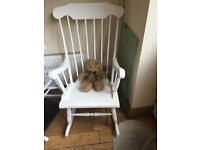 A LOVELY SHABBY CHIC ROCKING CHAIR IN GOOD ORDER IDEAL FOR A NURSERY WOULD ENHANCE ANY ROOM