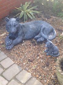 Huge solid tiger statue slate grey /bronze affect