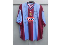 """Aston Villa Football Shirt Size XL 46""""-48"""" Chest & Signed By Team / Squad"""