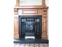 Wooden fireplace with matching mirror