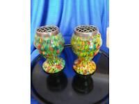Art Deco 1930s Bohemian Czech Spatter Glass Posy Vases