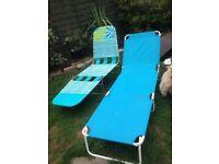 Sun loungers x2 both fold up small/garden camping caravan