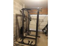 CF475 squat rack,high/low pulley with 100kg weight,bench,bars,95kg weights,weight rack and more