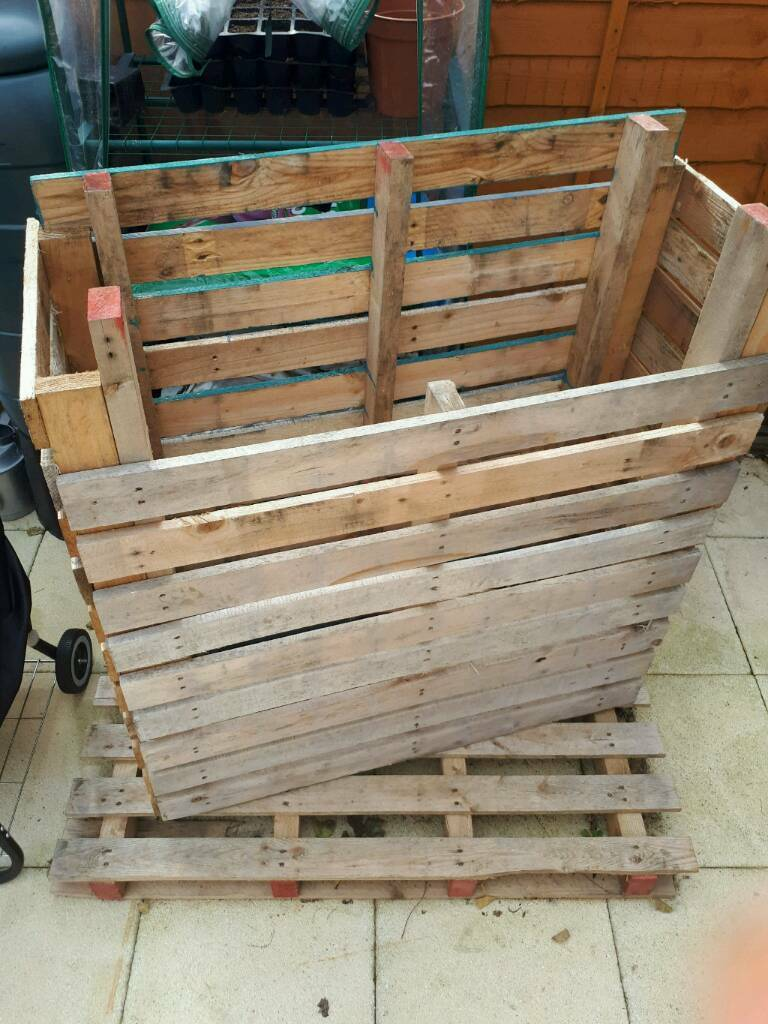 Unfinished pallet outside storage