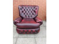Oxblood Red Leather Chesterfield Recliner Armchair