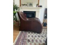 Vintage Art Deco Style Leather Arm Chair With Matching Footstool
