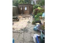 FREE pink and yellow paving slabs. 45cm x 45cm 31 plus some useful bits.
