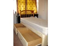 Single divan base bad & mattress & headboard