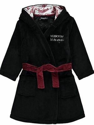 BNWT Kids Harry Potter Marauders Map Fleece Dressing Gown Robe Black 4-5 5-6 7-8 - Kids Black Robe