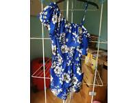 NEW LOOK BLUE WITH WHITE FLOWERS PLAYSUIT SIZE UK 6 BNWT
