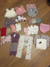 Various Baby Girls - Joules Hats, Mamas & Papas. Next Scratch Mitts. Zara Socks. M&S Muslin Cloths