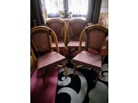 Four french bistro chairs good condition red& cream