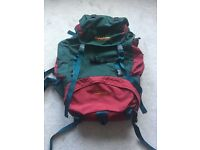 VINTAGE MULTI COLOURED KARRIMOR JAGUAR 55LITRE BACKPACK TRAVEL LUGGAGE SKATE SNOWBOARD CYCLE MEDIUM