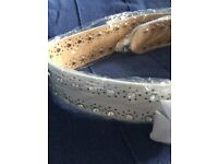 Women's Ladies Buckle PU leather Waist Belt with beaded