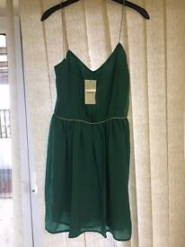 BNWT Mango green sparkle detail chiffon dress