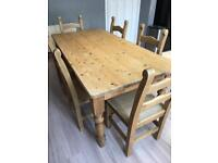 Dining room table with X6 chairs solid pine