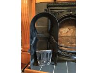 Victorian Edwardian cast iron fireplace and carved oak fire surround