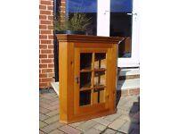 Pine Glass Door Corner Unit/Display Cabinet with 2 Shelves