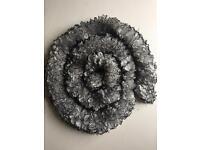 Handmade grey and black sparkle ruffle scarf