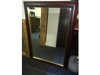 Splendid Large Antique Mirror with Bevelled Edges in an Ornate Mahogany Wooden Frame