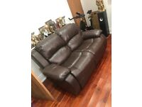 Brown leather 3 & 2 reclining sofa
