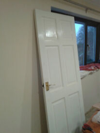 solid wood door with brass latch and handles and hinges