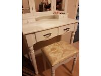 Beautiful white dressing table with matching upholstered stool.