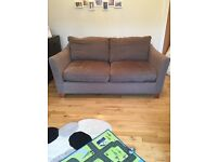 2 x 2 seater sofas, brown, John Lewis