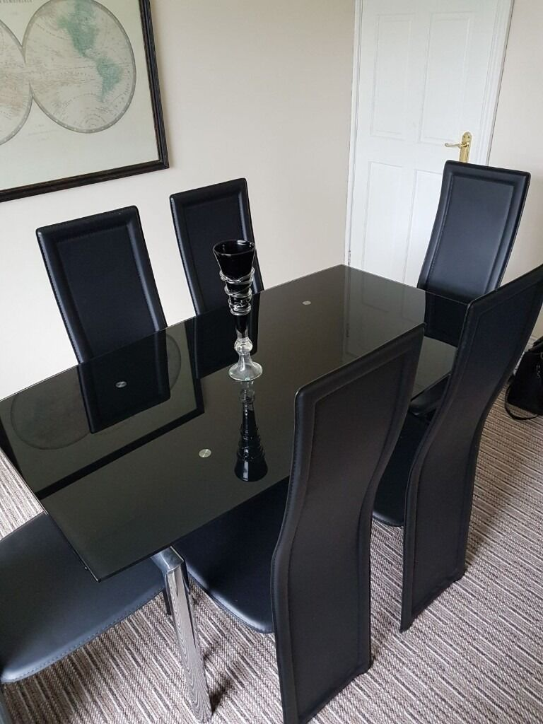 Harveys Milan Black Glass Chrome Extending Dining Table With 6 Chairs Excellent Condition