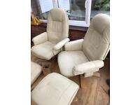 Faux leather recliners with stools