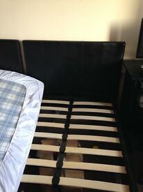 Two black leather single bed £35 each