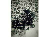Icandy Peach in Black Magic With Carrycot Double Buggy/Pushchair in Great Condition