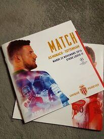 AS Monaco v Tottenham Hotspur Official Match Programme Champions League 22 november