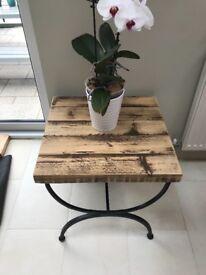 Reclaimed Wood Coffee Table, Handmade Metal Frame Base, Steel, Solid Wood,
