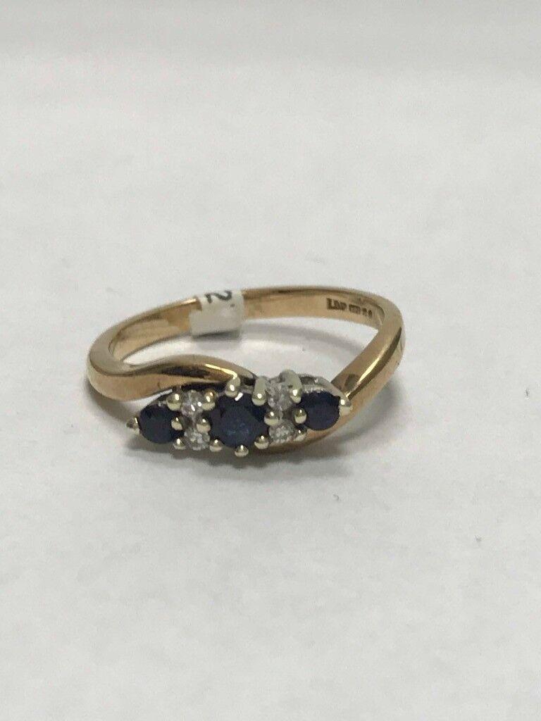 9ct Sapphire & Diamond Ring 2.06g Size F
