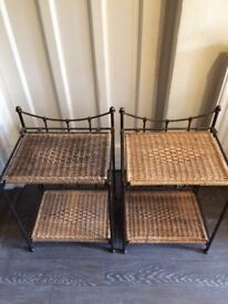 Side table wicker and metal