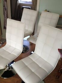 Chairs White x 4 - Swivel style/Fully Padded Set of 4 - Fab condition 6 months old -