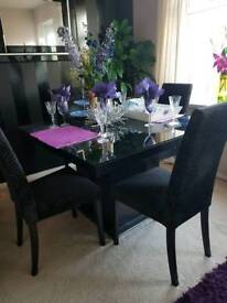 4 beautiful black and diamantee dining set. Excellent condition. £800 bought