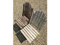 NEXT x 4 Wooden Folding Garden Patio Chairs Stripped