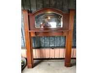 Old style wooden fire surround with built in mirror