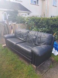 Black Leather Sofa good condition