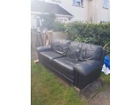 Black Leather Sofa good condition