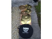 Various cymbals and bag (Paiste, Zildjian)