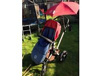 Bugaboo Cameleon pushchair with baby bassinet, foot muff and parasol