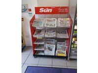Newspaper stand.