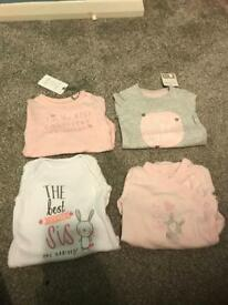 4 long sleeve vests BNWT up to 1 month
