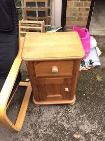 Pine bedside table with draw and cupboard