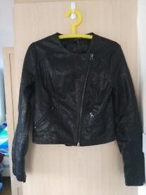 Topshop Women's Faux Leather Jacket Size 10 UK (Fantastic Condition)