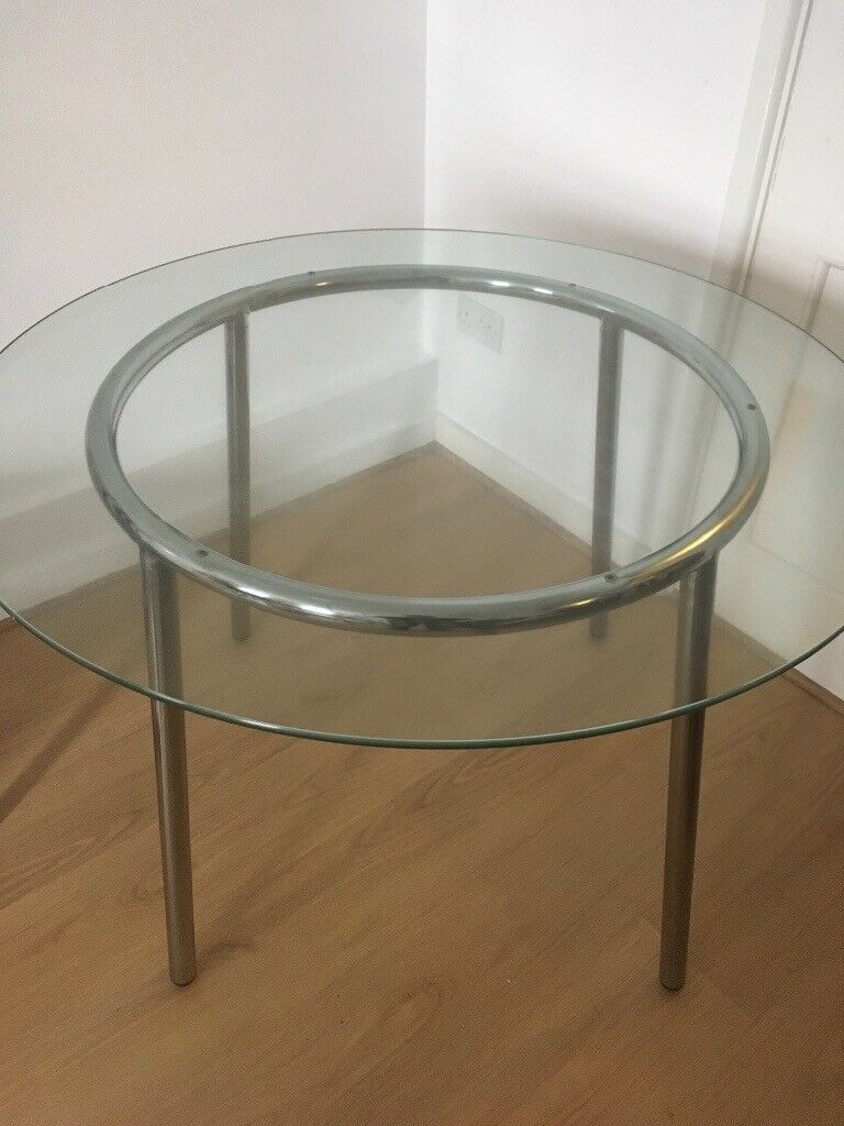 Ikea Salmi round glass dining table with chrome frame | in ...