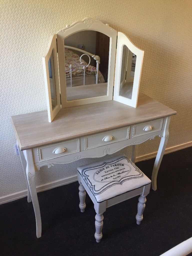 Shabby Chic French Provincial Dressing Console Table With